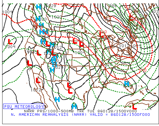 Surface weather map on January 28, 1986 featuring an Arctic air mass in the eastern US and high pressure sitting over Florida which set the stage for very cold temperatures at the launch pad; map courtesy Penn State ewall