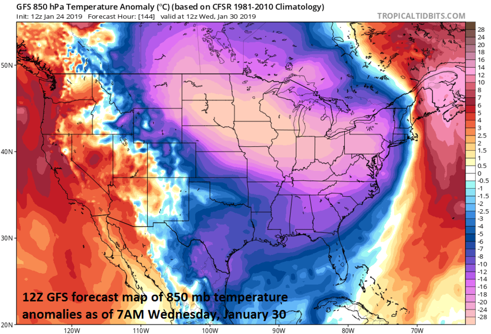 A widespread bitter cold air mass impacts the central and eastern US by the middle of next week; courtesy NOAA, tropicaltidbits.com