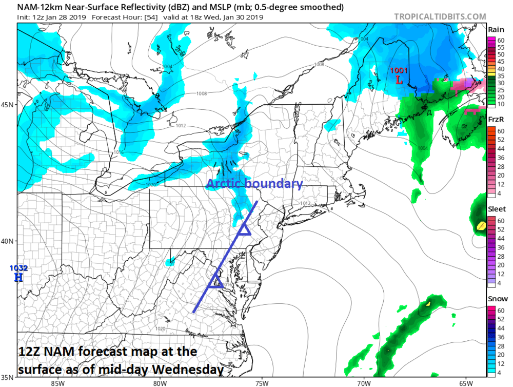 Arctic frontal boundary zone to come through the I-95 corridor on Wednesday with gusty winds, possible snow showers and isolated snow squalls; courtesy NOAA/EMC, tropicaltidbits.com