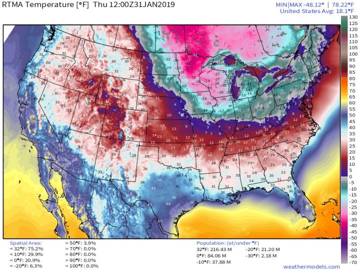 At 7 AM (EST), temperatures bottomed out across the Lower 48 with 84 million people at/below 0°F. Map courtesy weathermodels.com, Dr. Ryan Maue