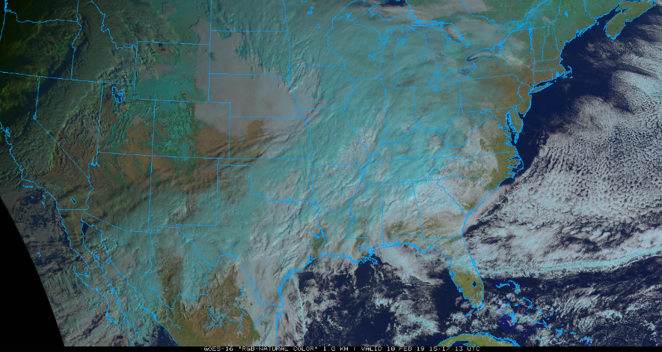 "Lots of clouds and moisture on the latest GOES-16 satellite image (""natural"" color) across the south-central US - and headed towards the Mid-Atlantic; courtesy NOAA, College of DuPage"