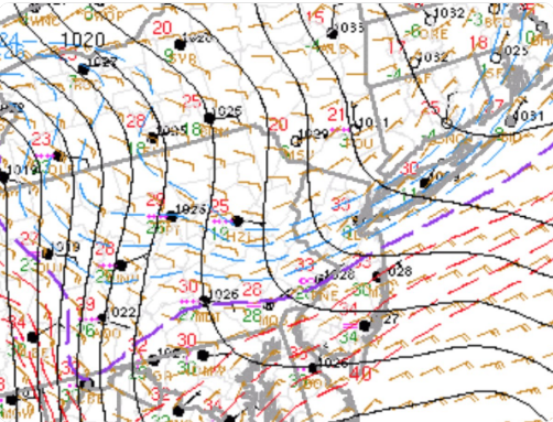 The freezing line (purple) has been very reluctant to advance to the north so far today given the strong, cold high pressure system anchored to the north. Map courtesy NOAA, NYNJPA Weather