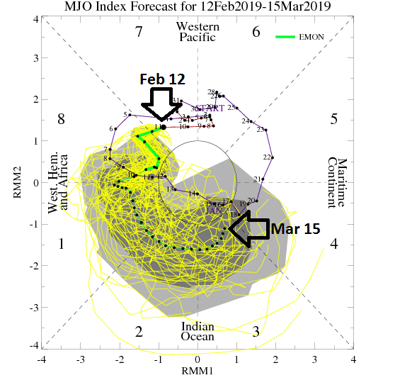 The Madden-Julian Oscillation (MJO) index will propagate through phases 8, 1, 2 and 3 in coming weeks according to the latest Euro model forecasts; courtesy NOAA, ECMWF