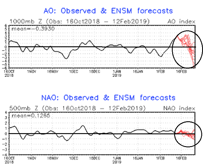 Arctic Oscillation (AO, top) and North Atlantic Oscillation (NAO, bottom) index forecasts (shown in red) for the next couple of weeks; maps courtesy NOAA