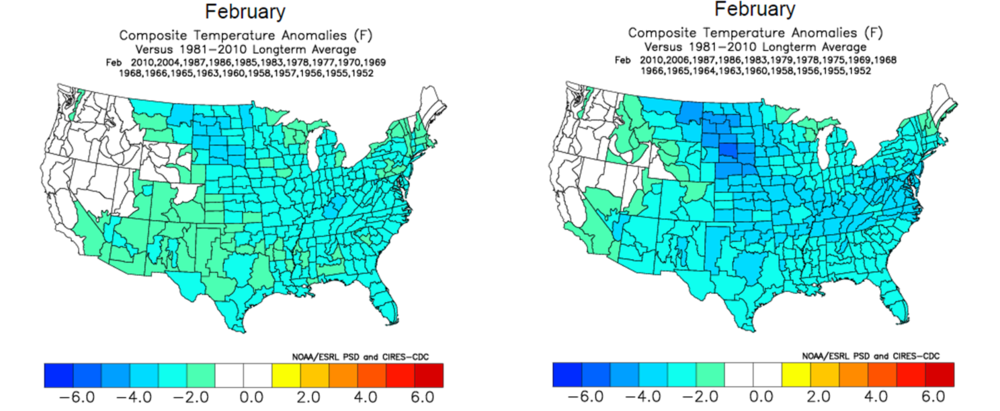 Composite temperature anomalies are shown for the month of February if the Arctic Oscillation (AO, left) and North Atlantic Oscillation (NAO, right) are in negative territory; data courtesy NOAA, madusweather.com