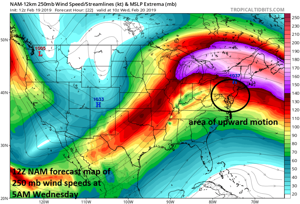12Z NAM forecast map of strong jet streak over New England early Wednesday morning which will result in strong upward motion in the Mid-Atlantic region aiding in the outbreak of snow; courtesy NOAA/EMC, tropicaltidbits.com