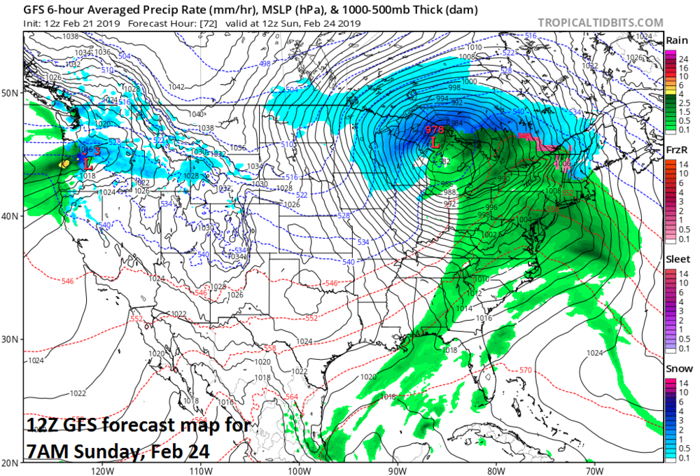 A powerful storm on Sunday morning situated over the Great Lakes; map courtesy NOAA/EMC, tropicaltidbits.com