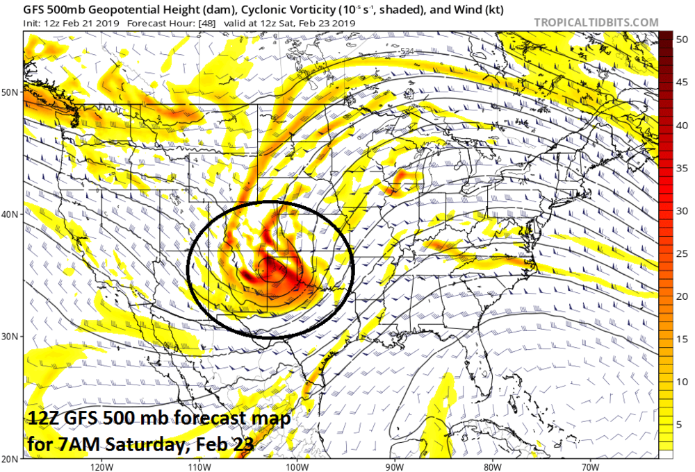 A strong wave of energy in the upper atmosphere early Saturday will help to fuel the rapid intensification of a surface low pressure system; map courtesy NOAA/EMC, tropicaltidbits.com