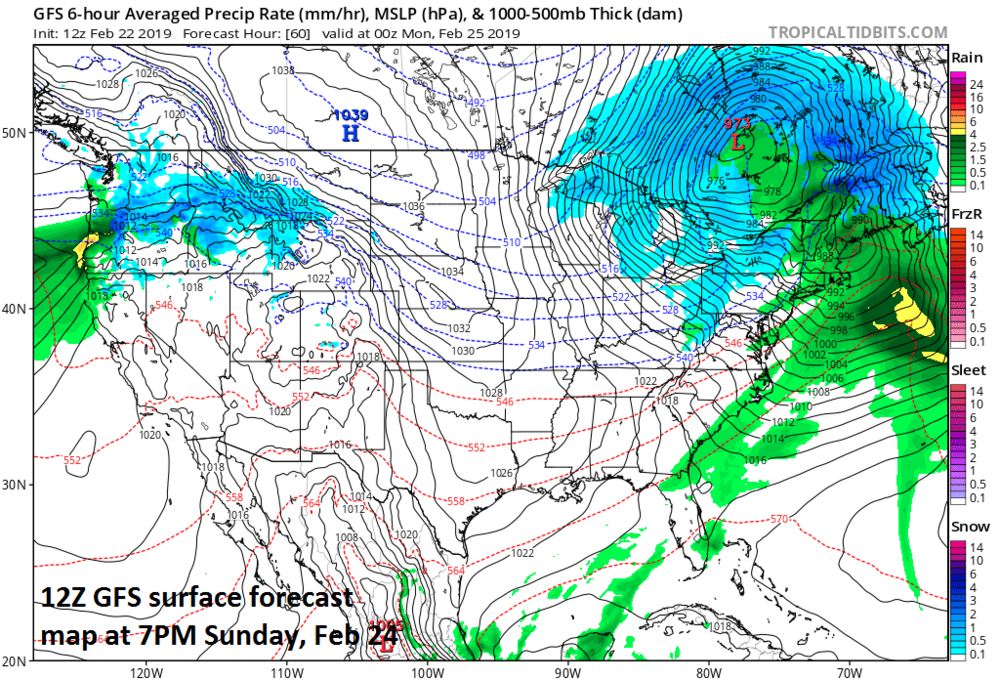 Powerful storm over southeastern Canada by early Sunday evening with a very tight pressure gradient across the Upper Midwest/Great Lakes; map courtesy NOAA/EMC, tropicaltidbits.com