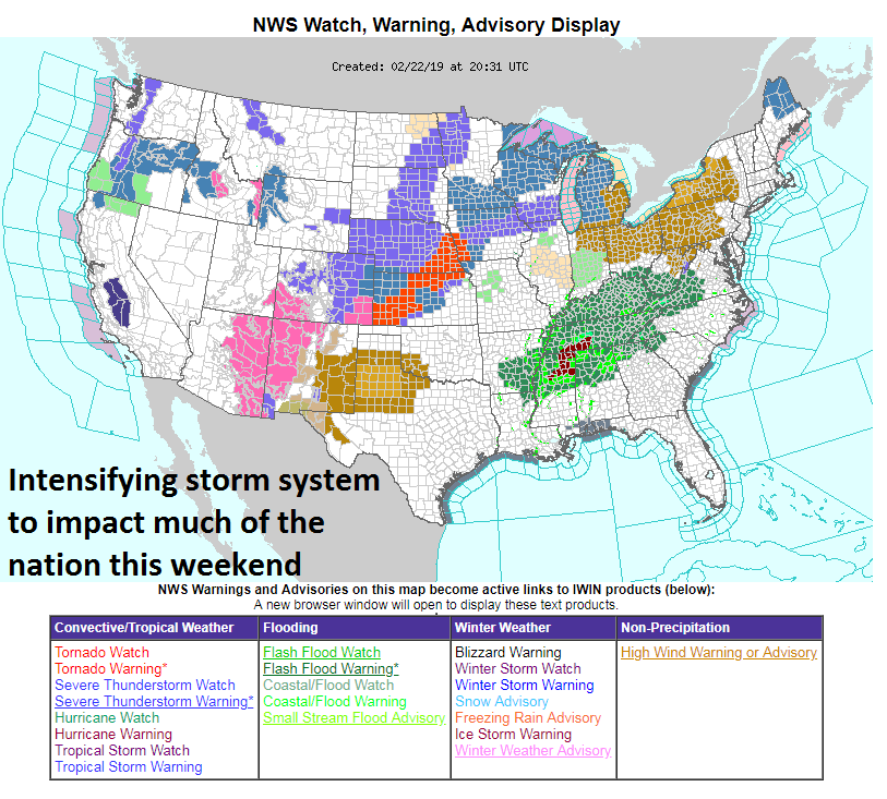 NOAA watches and warnings extend across much of the nation with snow-related threats extending from the Southwest US to the Great Lakes including blizzard warnings, flash flood threats in the Lower Mississippi and Tennessee Valleys, and high wind watches in the Ohio Valley and interior Mid-Atlantic. map courtesy NOAA