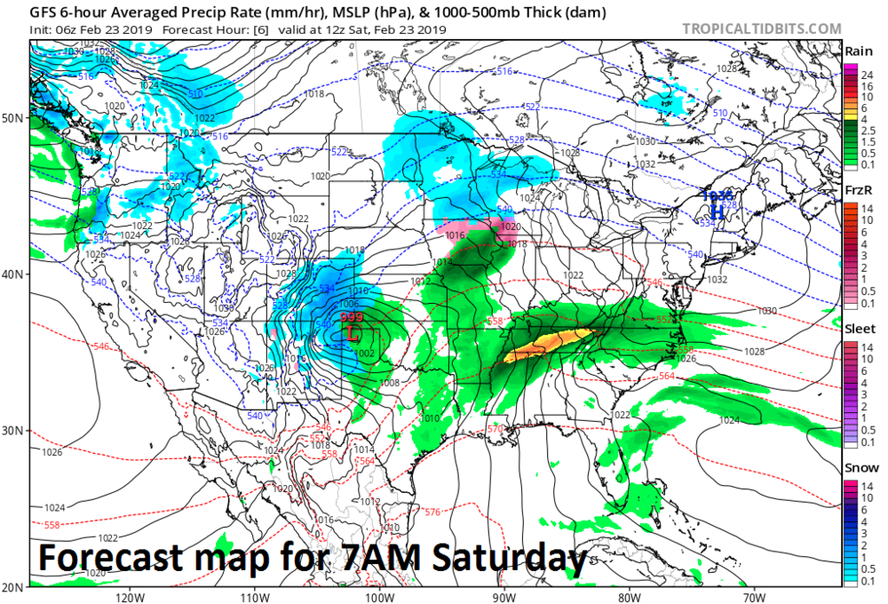 06Z GFS forecast map at the surface as of 7AM Saturday morning; courtesy NOAA/EMC, tropicaltidbits.com