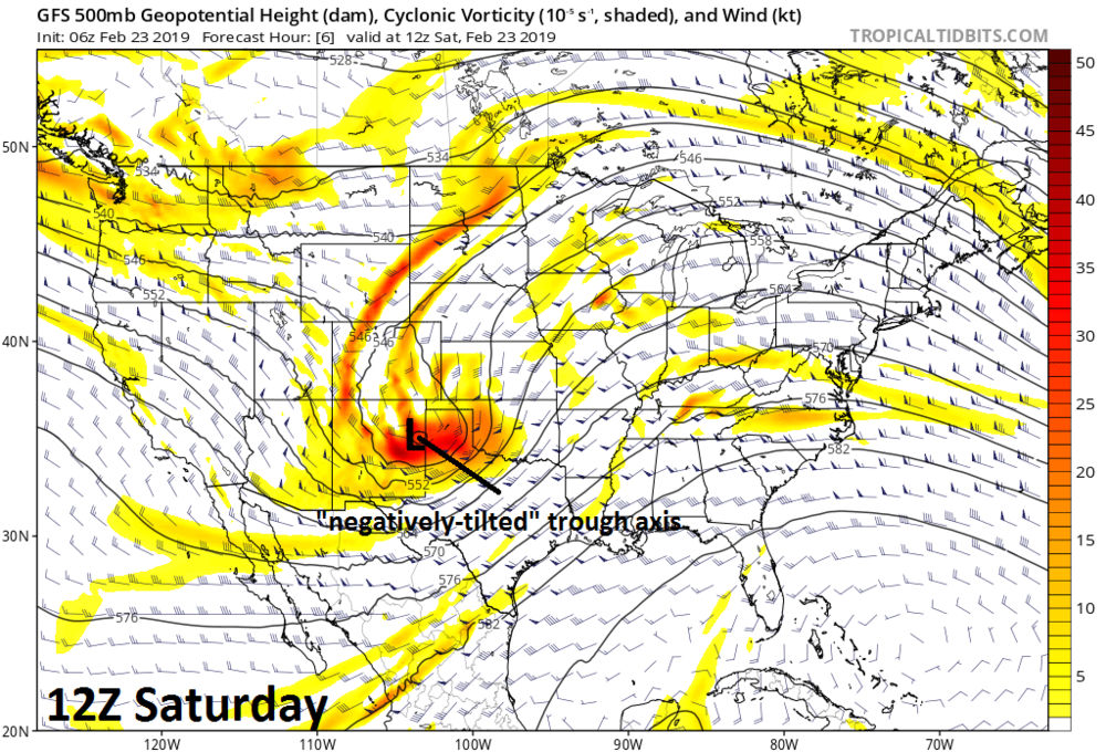 06Z GFS forecast map of upper-level energy which sets off the explosive intensification process on Saturday morning; courtesy NOAA/EMC, tropicaltidbits.com