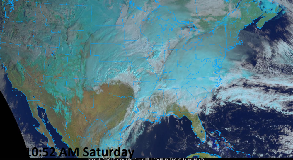 """GOES-16 """"natural"""" color satellite image of the US on Saturday morning; courtesy NOAA"""