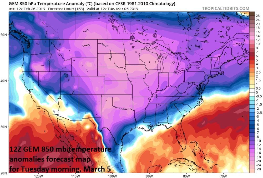 Well below normal temperatures will dominate the scene early next week across much of the nation; courtesy NOAA/EMC, tropicaltidbits.com