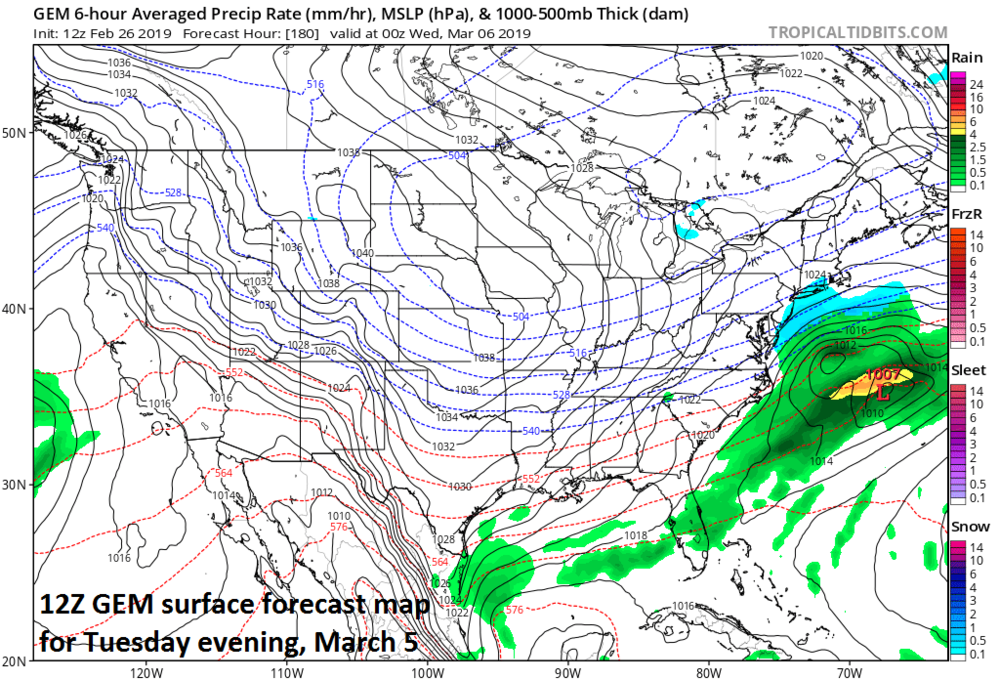 There are signs for a coastal storm later Tuesday, but whether it comes close enough for snow in the Mid-Atlantic is still too early to say; courtesy NOAA/EMC, tropicaltidbits.com