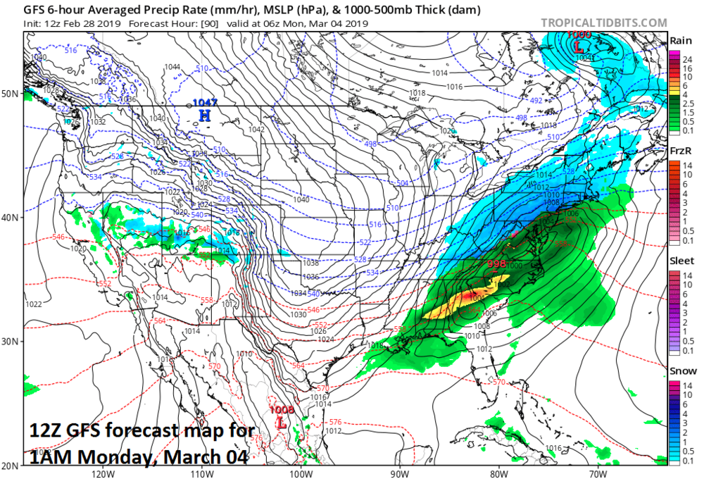 Forecast map for 1AM Monday with snow (in blue) generally to the north and west of Route I-95 and rain (green, yellow) to the south and east; map courtesy NOAA/EMC, tropicaltidbits.com