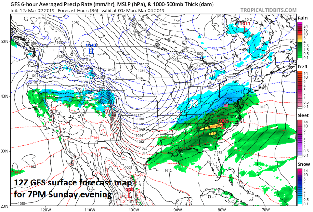 """12Z GFS forecast map for Sunday evening featuring a """"battle zone"""" in the I-95 corridor between snow (in blue) and rain (in green); courtesy NOAA/EMC, tropicaltidbits.com"""