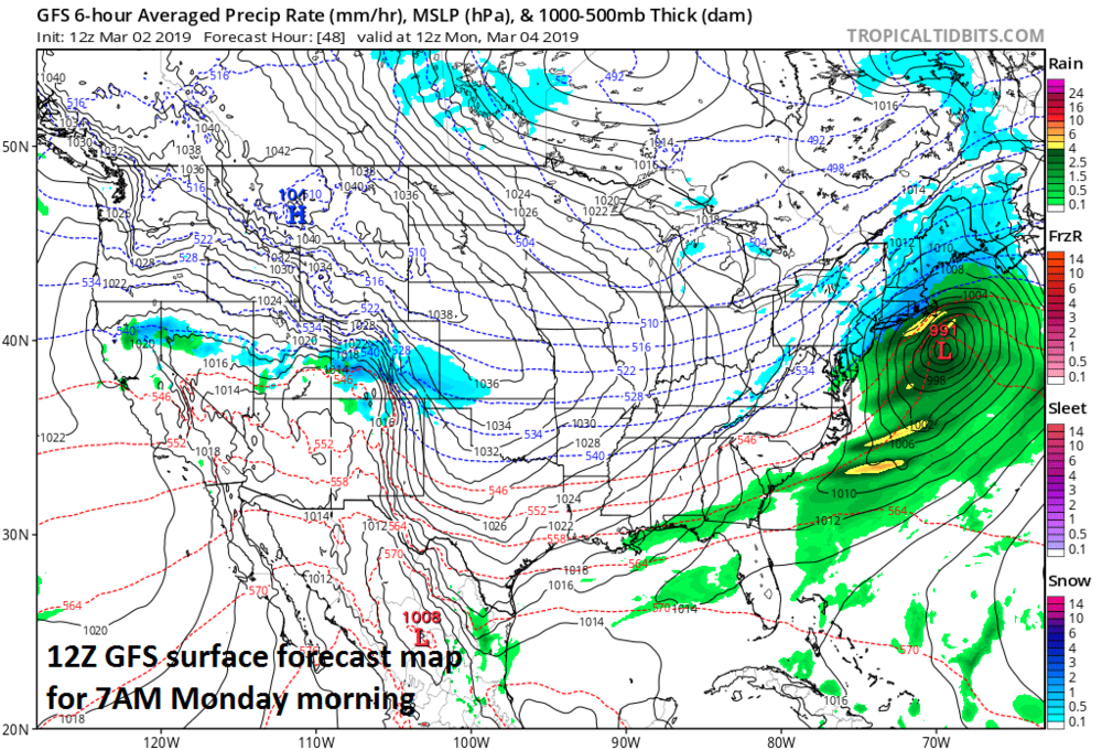 12Z GFS forecast map for Monday morning featuring a strong low pressure system off the southern New England coastline; courtesy NOAA/EMC, tropicaltidbits.com