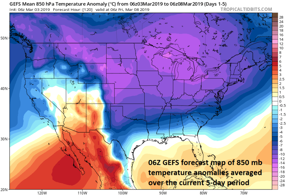 Widespread cold for the first week of March; courtesy NOAA/EMC, tropicaltidbits.com