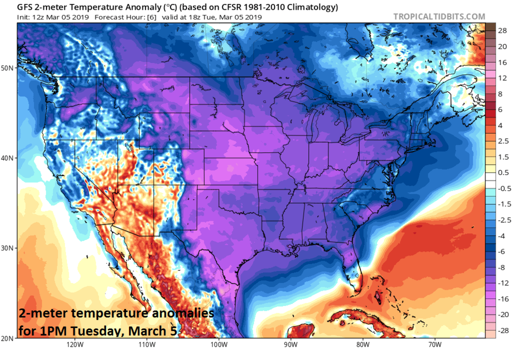 2-meter temperature anomalies for early this afternoon with colder-than-normal conditions virtually from coast-to-coast; courtesy NOAA/EMC, tropicaltidbits.com