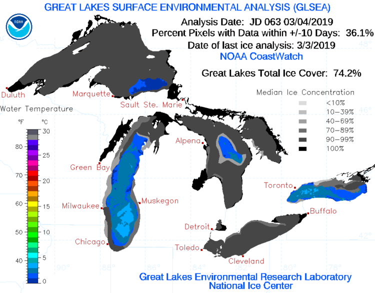 Great Lakes ice cover has increased to nearly 75% in recent days and should go even higher in this bitter cold; courtesy NOAA
