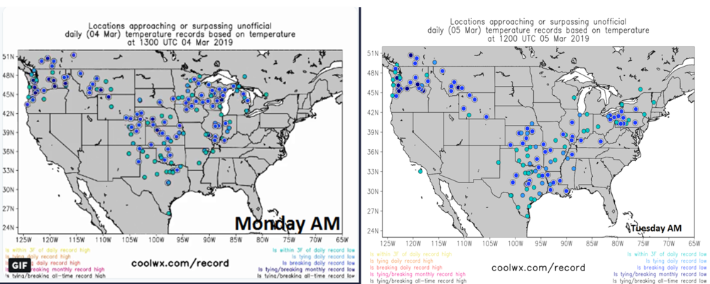 Record or near record low temperatures on Monday morning (left) and this morning (right); courtesy coolwx.com