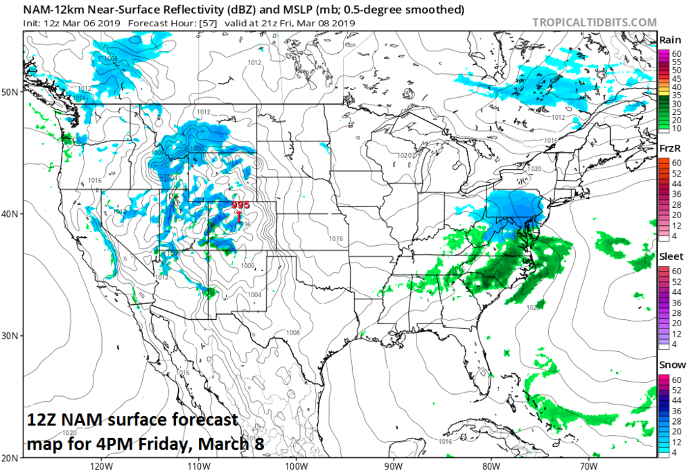 Low pressure will produce snow in the Mid-Atlantic region on Friday and small accumulations are possible; map courtesy NOAA/EMC, tropicaltidbits.com