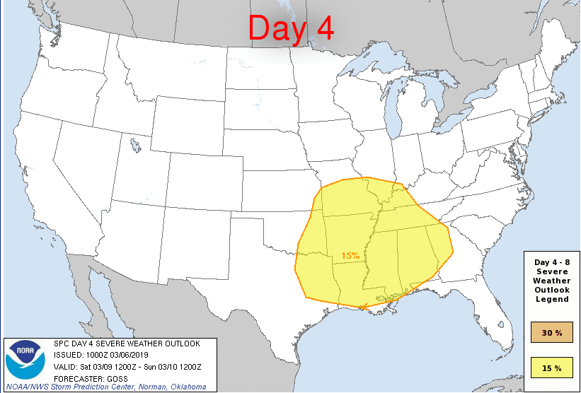 Severe weather including the threat of tornadoes is possible on Saturday in the Lower Mississippi Valley region as depicted by this forecast map by NOAA's Storm Prediction Center (SPC).