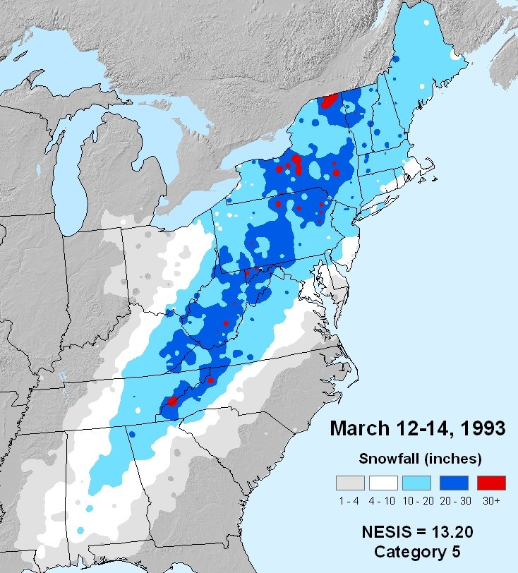Snowfall totals from the 1993 superstorm (Source: NOAA; Kocin and Uccellini)