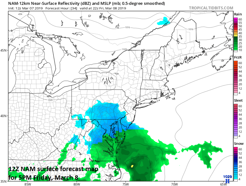 Snow will break out on Friday in the Mid-Atlantic region and small accumulations are possible in the DC-to-Philly corridor and perhaps as far north as NYC; map courtesy NOAA/EMC, tropicaltidbits.com