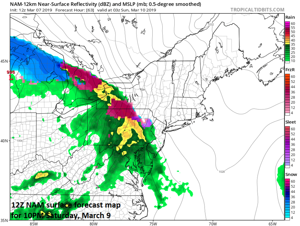 Precipitation returns by late Saturday evening and it could be cold enough for a wintry mix in some areas north of the Mason-Dixon Line; map courtesy NOAA/EMC, tropicaltidbits.com