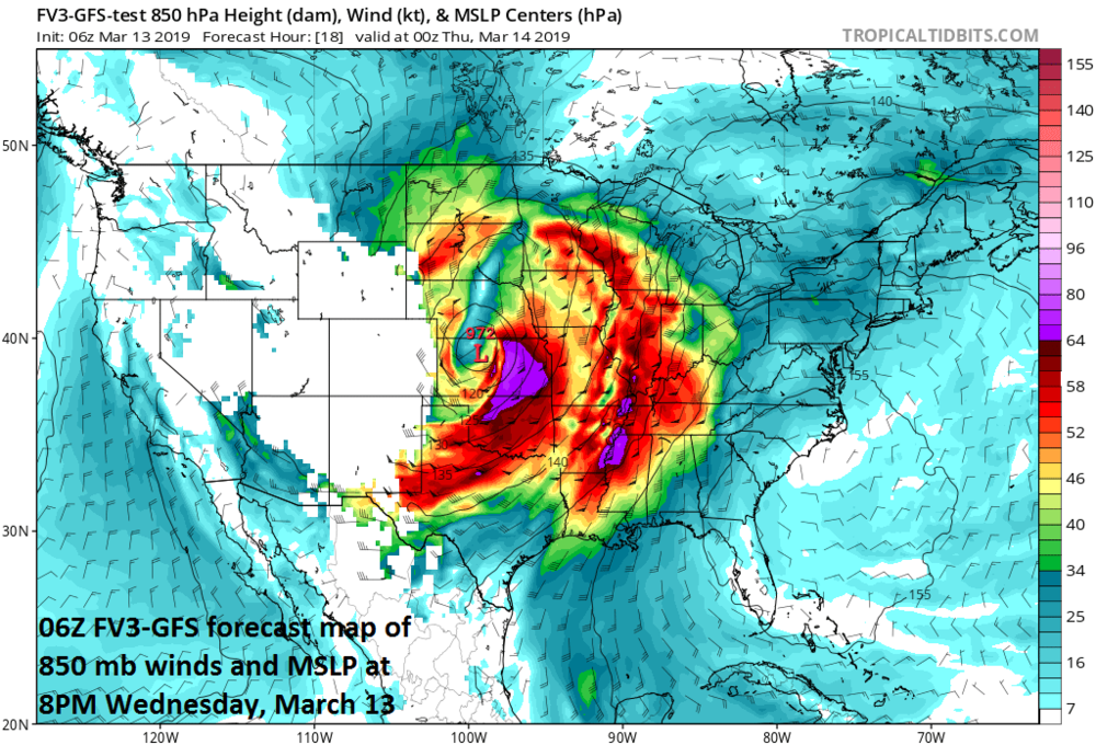Central pressures could bottom out in record low territory later today in many spots across the central US and extreme winds will take place to the south and east of the surface low; courtesy NOAA/EMC, tropicatidbits.com