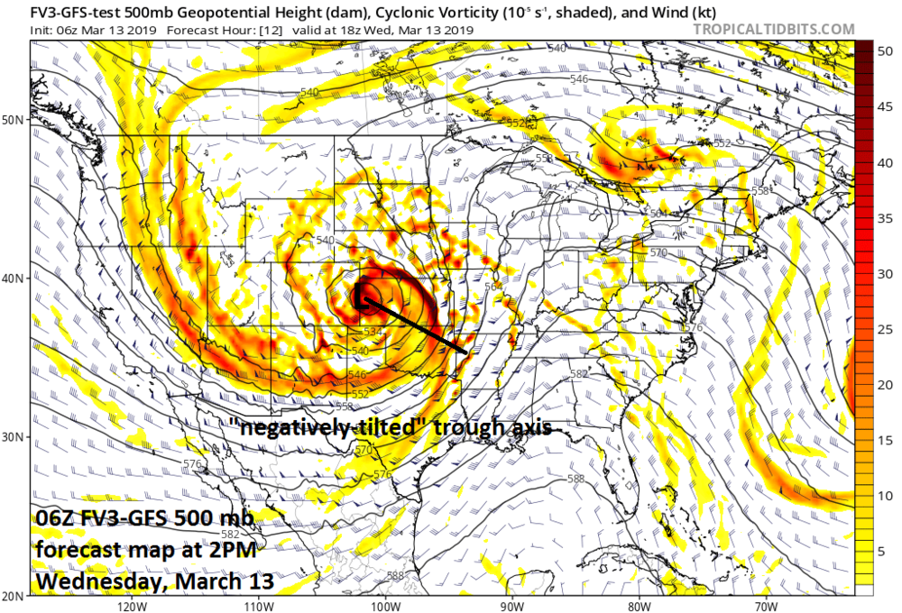 Vigorous energy in the upper atmosphere plays a key role today in the rapid intensification of the storm system; courtesy NOAA/EMC, tropicaltidbits.com