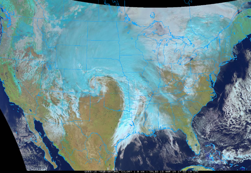 """GOES-16 """"natural"""" color image of developing storm system over the nation's midsection; courtesy NOAA/GOES, College of DuPage"""