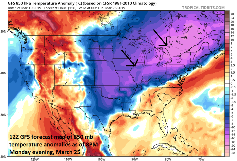 A cold air outbreak may reach the Northeast US/Mid-Atlantic region next week at just about the same time moisture arrives associated with another slow-moving strong storm system; courtesy NOAA/EMC, tropicaltidbits.com