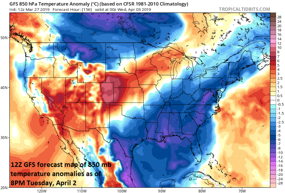 Colder-than-normal conditions for much of the eastern US early next week; courtesy NOAA/EMC, tropicaltidbits.com