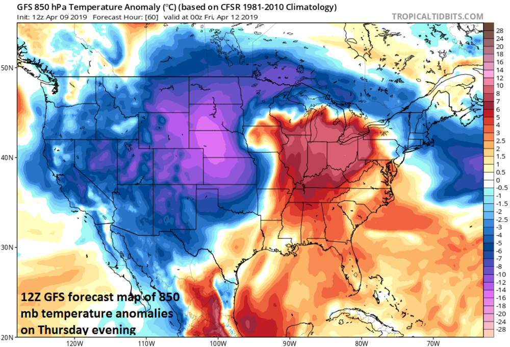 A tremendous cold air outbreak will accompany the upcoming springtime blizzard from the Rockies to the Northern Plains; courtesy NOAA, tropicaltidbits.com