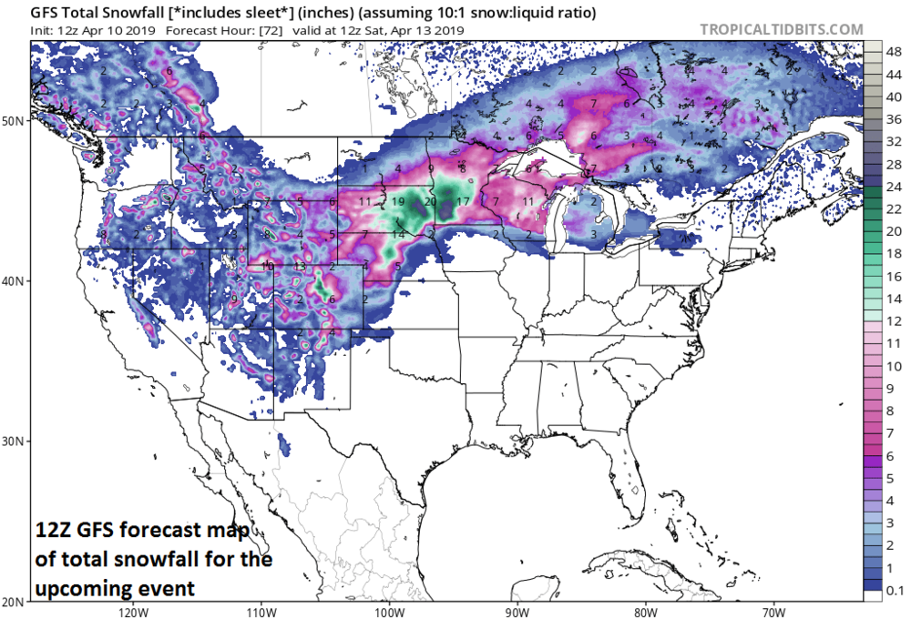 Total snowfall map as depicted by the 12Z GFS for the upcoming event; courtesy NOAA/EMC, tropicaltidbits.com
