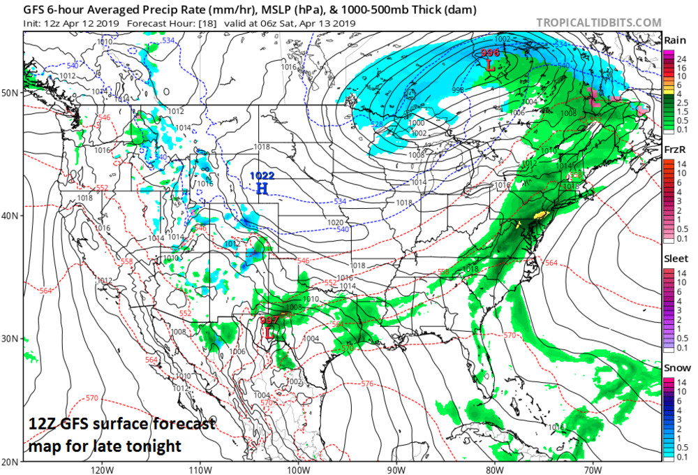 12Z GFS surface forecast map for late tonight features some heavy rainfall in the I-95 corridor (shown with dark green, yellow); courtesy NOAA/EMC, tropicaltidbits.com