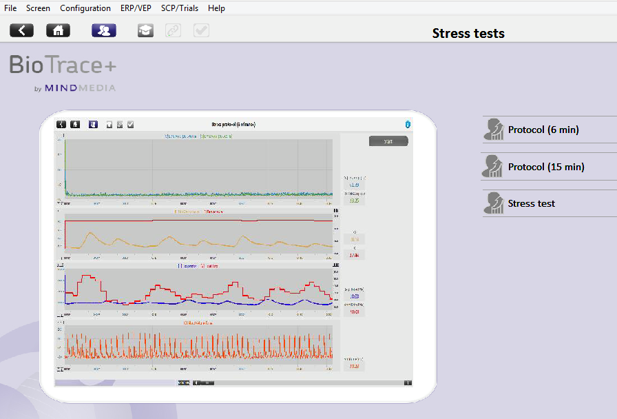 BioTrace+ stress profile menu