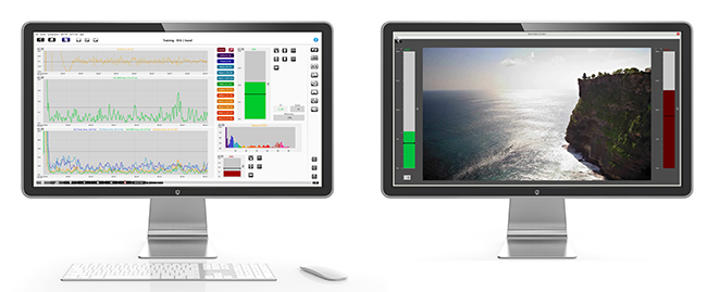 neurofeedback may usefully use a dual screen set up as shown here with Biotrace software