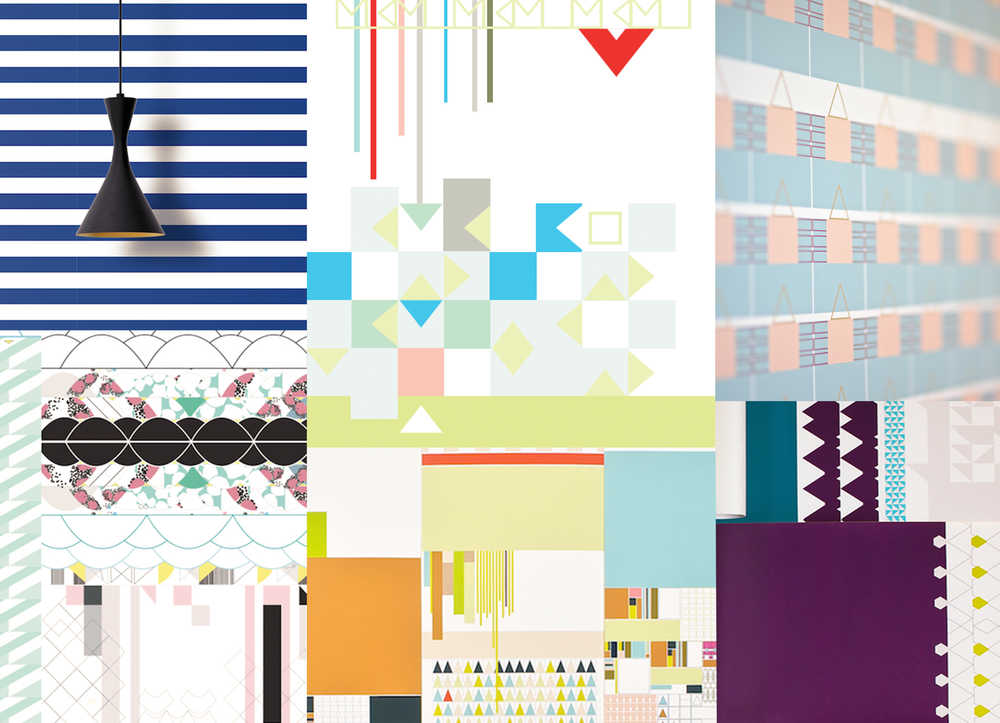 Childs Play Mood Board - Featuring The Hampton, Tropic, Kandy, Sombre, Stack, Mosiac, Persia and Aztec Wallpapers.