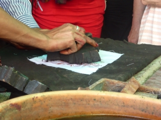 Demonstration of block printing
