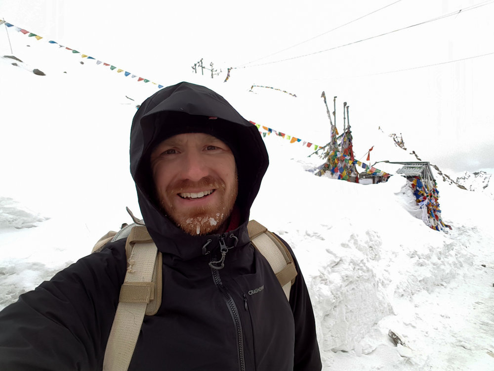 Reaching the top of Khardung-La at just before 6pm after 16 kilometers uphill!