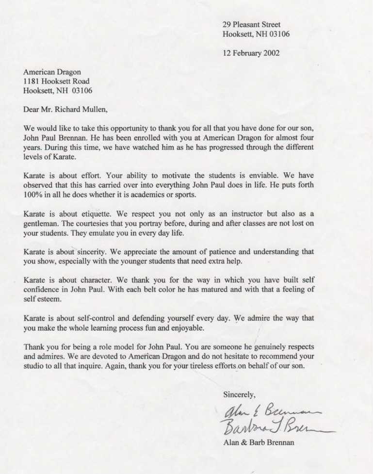 Thank You Letter Karate Instructor Thank You Letter Karate ...