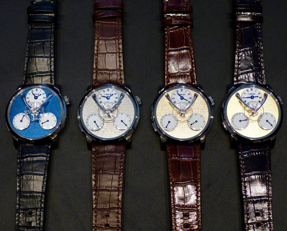 4 White Gold editions limited to 18 pieces each, with a frosted dial plate in Blue, Ruthenium, Red gold or Yellow gold.