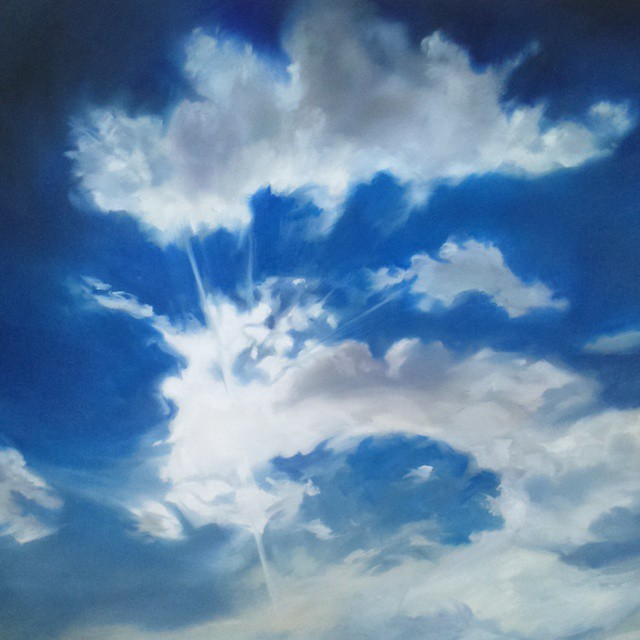 "Clouds 1, oil on canvas, 30x36"", 2015. Jerome Evola"