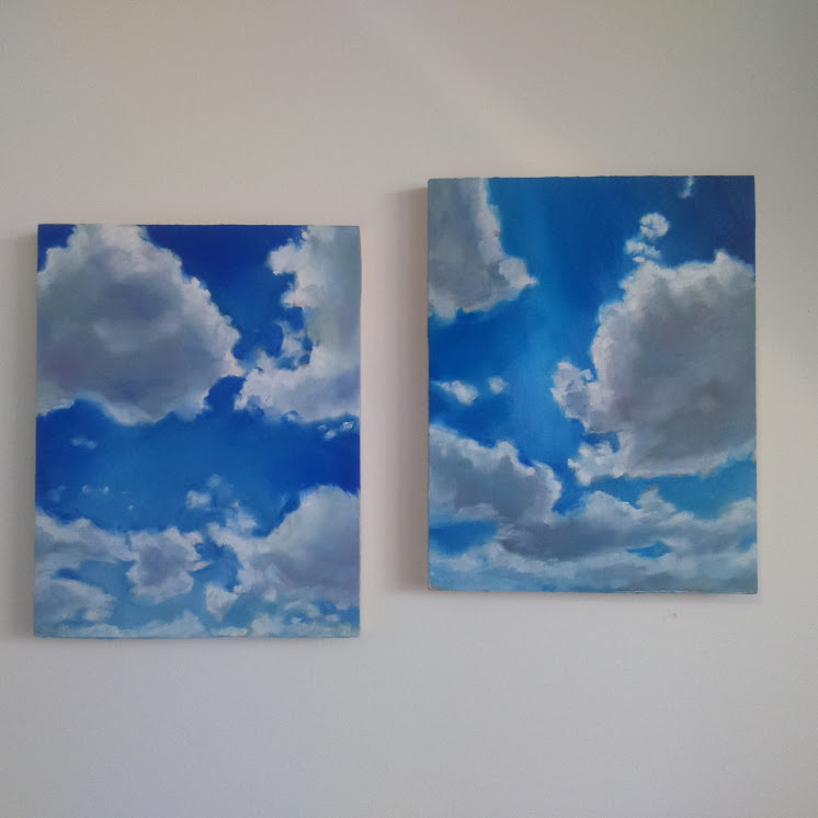 "Clouds blue duo, oil on wood, 11x14"", 2015"