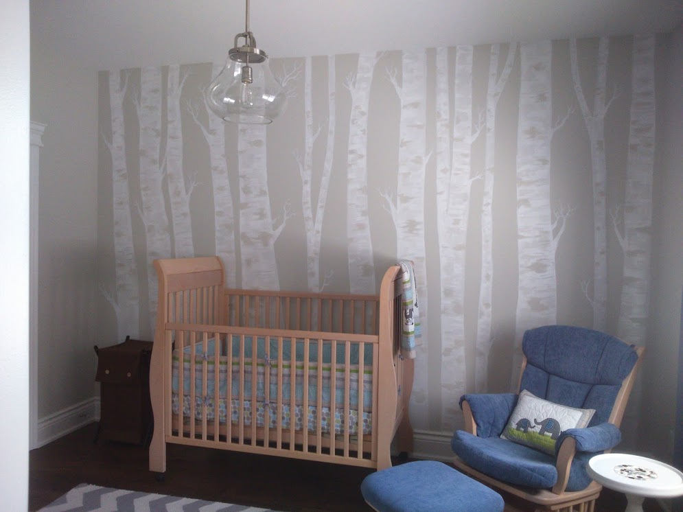 birch trees in child's room, acrylic on wall, 2015