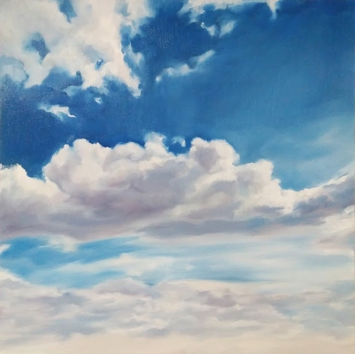 "Clouds #10, 18x18"", oil on wood panel, 2016."
